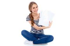 Student Girl, dat over achtergrond wordt geïsoleerd royalty-vrije stock fotografie