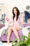 Student girl dressing up in the morning Stock Image