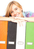 Student girl with file binders Royalty Free Stock Photography