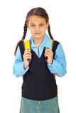 Student girl in first day of school Royalty Free Stock Photo