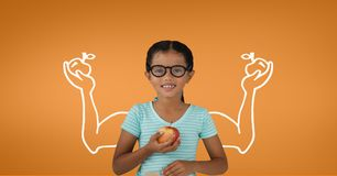 Student girl with fists graphic holding an apple against orange background. Digital composite of Student girl with fists graphic holding an apple against orange Stock Photos