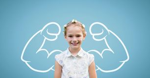 Student girl with fists graphic standing against blue background Royalty Free Stock Photography