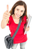 Student girl giving thumbs up Royalty Free Stock Photography