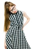 Student girl with glasses in black checkered dress royalty free stock photos