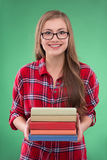 Student girl on green background Stock Images