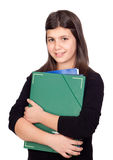 Student girl with green folder Stock Image