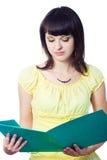 Student girl with green folder Stock Photos