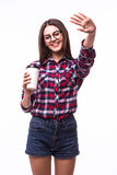 Student girl with hello gesture  drink tea or coffee Stock Photography