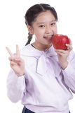 Student girl hold red apple Royalty Free Stock Images