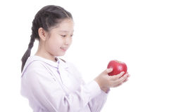 Student girl hold red apple Royalty Free Stock Photos