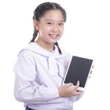 Student girl hold touch pad Stock Image