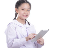 Student girl hold touch pad Royalty Free Stock Photo