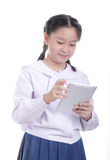 Student girl hold touch pad Royalty Free Stock Photography