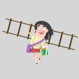 Student girl holding many books and ladder vector illustration