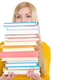Student girl holding stack of books Stock Photography