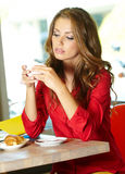 Student Girl In The Cafe Stock Photos