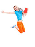 Student girl jumping with book Stock Image
