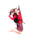 Student girl, jumping with joy Stock Photography