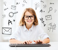 Student girl with keyboard Stock Photo