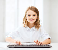 Student girl with keyboard Stock Photos