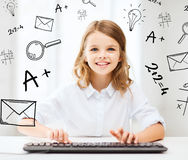 Student girl with keyboard Royalty Free Stock Photos