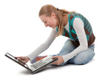 Student girl and laptop. On white background Royalty Free Stock Image
