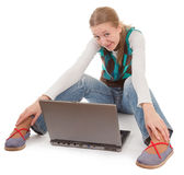 Student girl and laptop. On white background Stock Photo