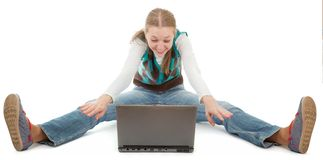 Student girl and laptop. On white background Stock Photos