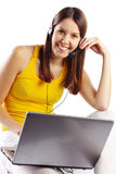 Student girl with laptop Royalty Free Stock Photo