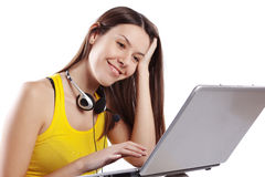 Student girl with laptop Royalty Free Stock Images