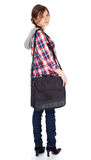 Student girl with laptop bag Stock Images