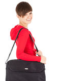 Student girl with laptop bag Stock Image
