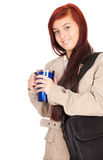 Student girl with laptop bag and big blue cup Royalty Free Stock Images
