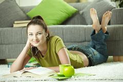 Student girl learning at home Stock Image