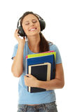 Student girl listening to the music Stock Photos