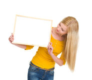 Student girl looking on blank board Stock Image