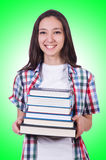 Student girl with many books Stock Photos