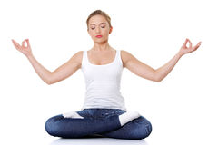 Student girl meditating Stock Photo