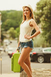 Student girl move out to city. Royalty Free Stock Photos