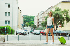 Student girl move out to city. Royalty Free Stock Images