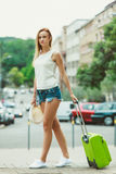 Student girl move out to city. Royalty Free Stock Photo