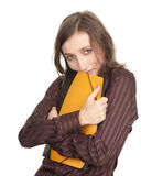 Student girl with note pads Royalty Free Stock Images