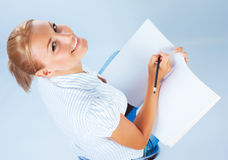 Student girl passing exam Royalty Free Stock Photo
