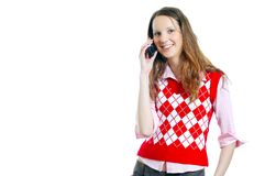 Student girl on the phone. Isolated over a white background Royalty Free Stock Images