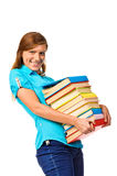 Student Girl with pile color book Royalty Free Stock Photos