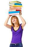 Student girl with pile color book . Isolated Royalty Free Stock Photos