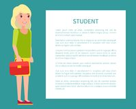 Student Girl Poster with Fill Form for Text Case. Student girl poster with fill form for text, girl with leather case, blonde student in stylish cloth on banner Stock Photography
