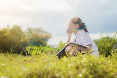 Student girl reading a book in gold meadow contryside nature. In evening light with flare vintage style Stock Photos