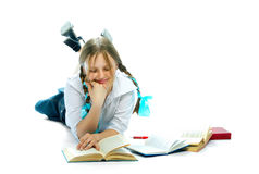 Student girl reading books Royalty Free Stock Images