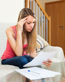 Student girl reading notes and preparing for exams Royalty Free Stock Photo